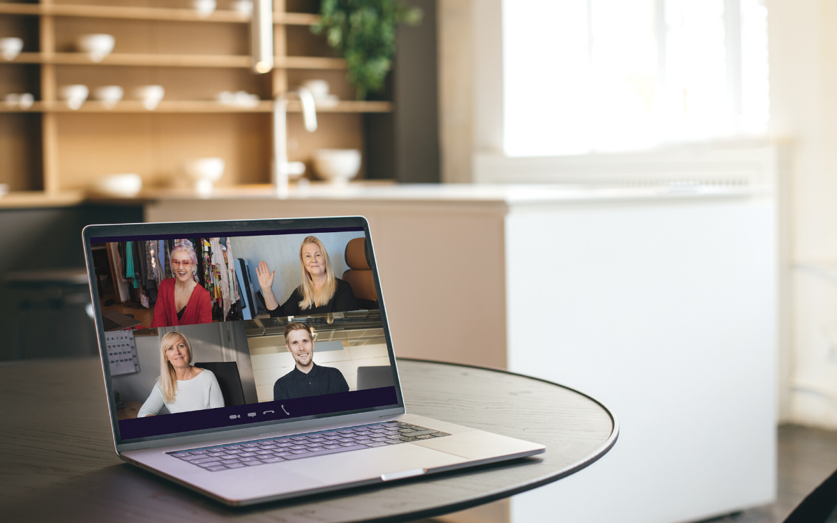 How market research recruitment changed in 2020. Represented by online focus group with 4 respondents shown on laptop screen.