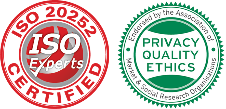 Iso20252 Market Research certified and Privacy, Quality, Ethics endorsed by the Association of Market & Social Research Organisation